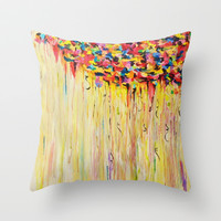 OPPOSITES LOVE Raining Sunshine - Bold Bright Sunny Colorful Rain Storm Abstract Acrylic Painting Throw Pillow by EbiEmporium