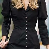Upper West Long Sleeve Puff Shoulder V Neck Button Front Bodycon Blazer Mini Dress - 2 Colors Available