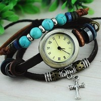 Leather Belt Watch with Helm Pendant and Wooden Beads DFA35