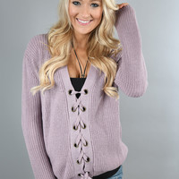 All I Want ~ Lavender Lace Up Top