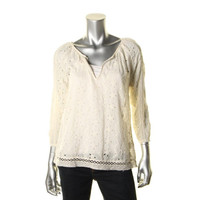Joie Womens Eyelet Lace Inset Casual Top