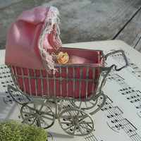 Antique German Schweitzer Doll House Miniature Baby Carriage  1900's with Original Bisque Baby On sale was 180.00