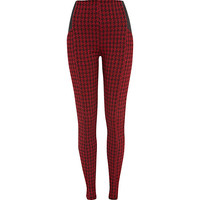 River Island Womens Red houndstooth high waisted leggings