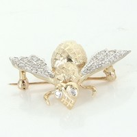 Vintage Bumble Bee Diamond 14 Karat Yellow Gold Brooch Pin Estate Fine Jewelry Bug