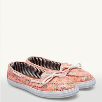 Sequined Floral Boat Shoes