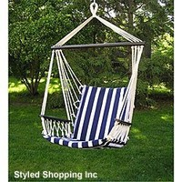 Deluxe Harmony Blue and White Hanging Hammock Sky Swing Chair