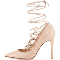 Valentino Patent Lace-Up 105mm Pump, Powder