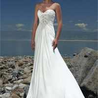 Best Seller Sweetheart Neckline Crystal And Applique Chiffon Beach Wedding Dress WD0052