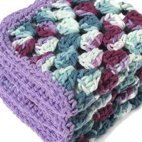 Teal and Purple Crocheted Cotton Dish Cloths or Wash Cloths Large Set of Three, Relay for Life Donation