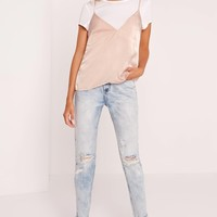 Missguided - T Shirt Cami Overlay Nude