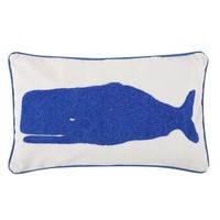 Whale Crewel Accent Pillow