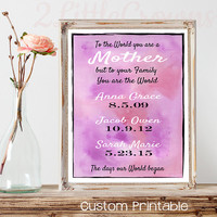 Personalized Dates Print for Mother Custom Children's Birth dates Mother's Day Gift Wife Gift Watercolor Print To the World you are a Mother