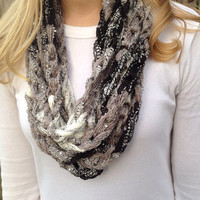 Panda Crocheted Infinity Chain Scarf, fashion scarf, chain necklace, light scarf
