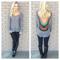 Navy Stripe Low Back Embroidered Top