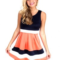 Can't Buy Me Love Navy And Coral Striped Dress | Monday Dress Boutique