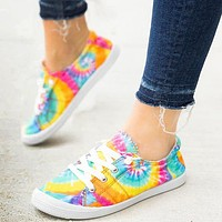 2020 summer new fashion tie-dye cloth shoes flat bottom casual comfortable shoes women's shoes blue yellow green
