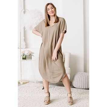 It Can Be Done Midi Dress | Taupe