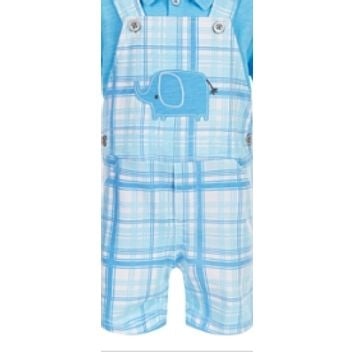 First Impressions Baby Boys Elephant Plaid Shortall Size 0-3 Months