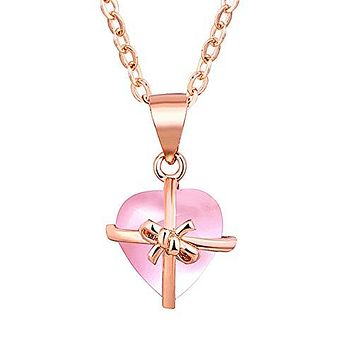 Dainty Pink Spar Heart Crystal Pendant Necklace, Rose Gold Plated Love Heart Cross Necklaces Jewelry Gifts for Her ZY066 (Pink)