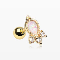 Golden Victorian Opal Sparkle Cartilage Tragus Barbell