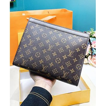 Bunchsun LV Louis Vuitton Fashion Woman Men Envelope Clutch Bag Leather File Bag Tote Handbag