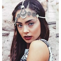 Fashion selling retro name family carved water drops tassel headband headdress