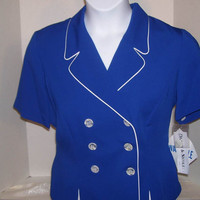 Women's Spring Summer Suit Vibrant Sapphire Blue Piped In White Washable Wedding Mother of Bride size 12 size 14