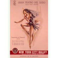 1956 New York City Ballet Wood Sign