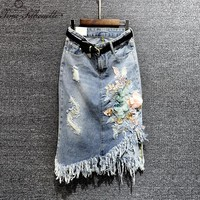 2018 New Denim Skirt Women Floral Sequined Tassel Casual Women Long Jean Skirt Autumn Harajuku Boyfriend Casual Skirts S148