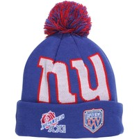 Mens New York Giants New Era Royal Blue Super Bowl Big Team Cuffed Knit Hat with Pom