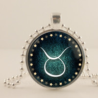 Taurus birth sign, Zodiac, Astrology glass and metal Pendant necklace Jewelry.
