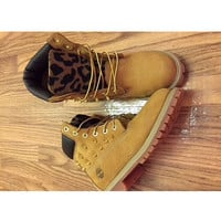 Leopard/Cheetah Print gold spiked Timberland Boots