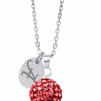Alabama Crimson Tide Crystal Ball Necklace. Free Shipping College Jewelry