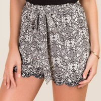 Ellina Floral Embroidered Hem Soft Short