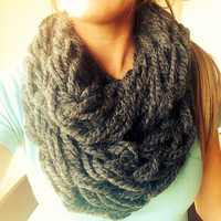 Charcoal Gray Double Wrap Chunky Super Bulky Arm Knit Infinity Scarf