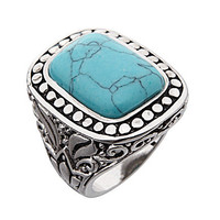 Dillard's Boxed Collection Antique Cut Turquoise Ring