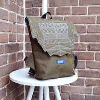 Backpack army green hipster backpack rucksack cycling bag everyday small mini backpack Zurichtoren geometric simple minimalist backpack bag