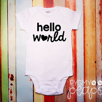 """Birth Announcement """"Hello World"""" Newborn New Baby Bodysuit - Baby Shower Gift - Coming Home Outfit - White with Black"""