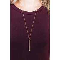Long Skinny Cylinder Necklace - Gold