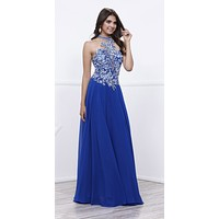Jeweled High-Neck Sheer Back Embroidered Prom Gown Royal Blue
