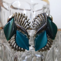 Vintage 60's Thermoset Earrings Turquoise & Deep Green Thermo Plastic Clip Earrings Leaf Diamond Shape Clipons Mid Century Jewelry