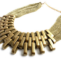 """""""Queen Of The Scene"""" Matte Gold Statement Necklace"""