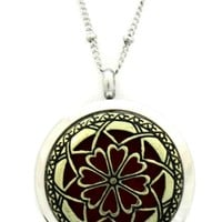 """""""Unique 2tone"""" 316L Stainless Steel Essential Oil Diffuser Necklace- 30mm- 20"""""""
