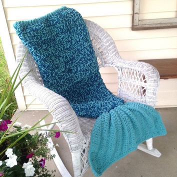 Crochet Bulky Mermaid Cocoon Blanket in Shades of Teal Sizes Preschool Child Adult
