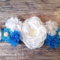 Boy Maternity Sash! Beautiful Fancy Blue and White Maternity Sash!