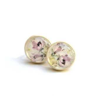 Lavender floral studs post earrings eco friendly floral jewelry wood jewelry etsy wood earrings eco fashion