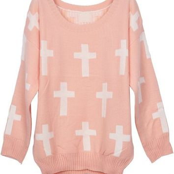 Sheinside Round Neck and White Cross Pattern Jumper Sweater