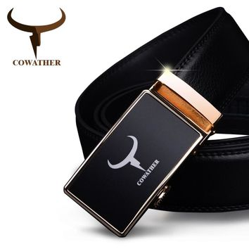 COWATHER mens belt cow genuine leather automatic alloy gold silver buckle black strap