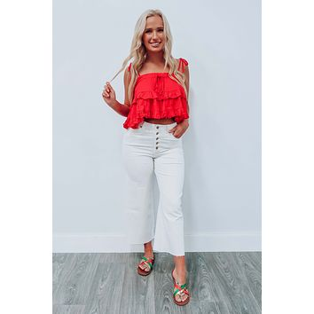 City Vibes Cropped Top: Red