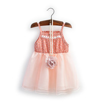 Baitao Sweet Casual Baby Dress Patchwork Mesh Lace Dresses Sleeveless Shoulder Strap Flower Print Girls Dress GD019